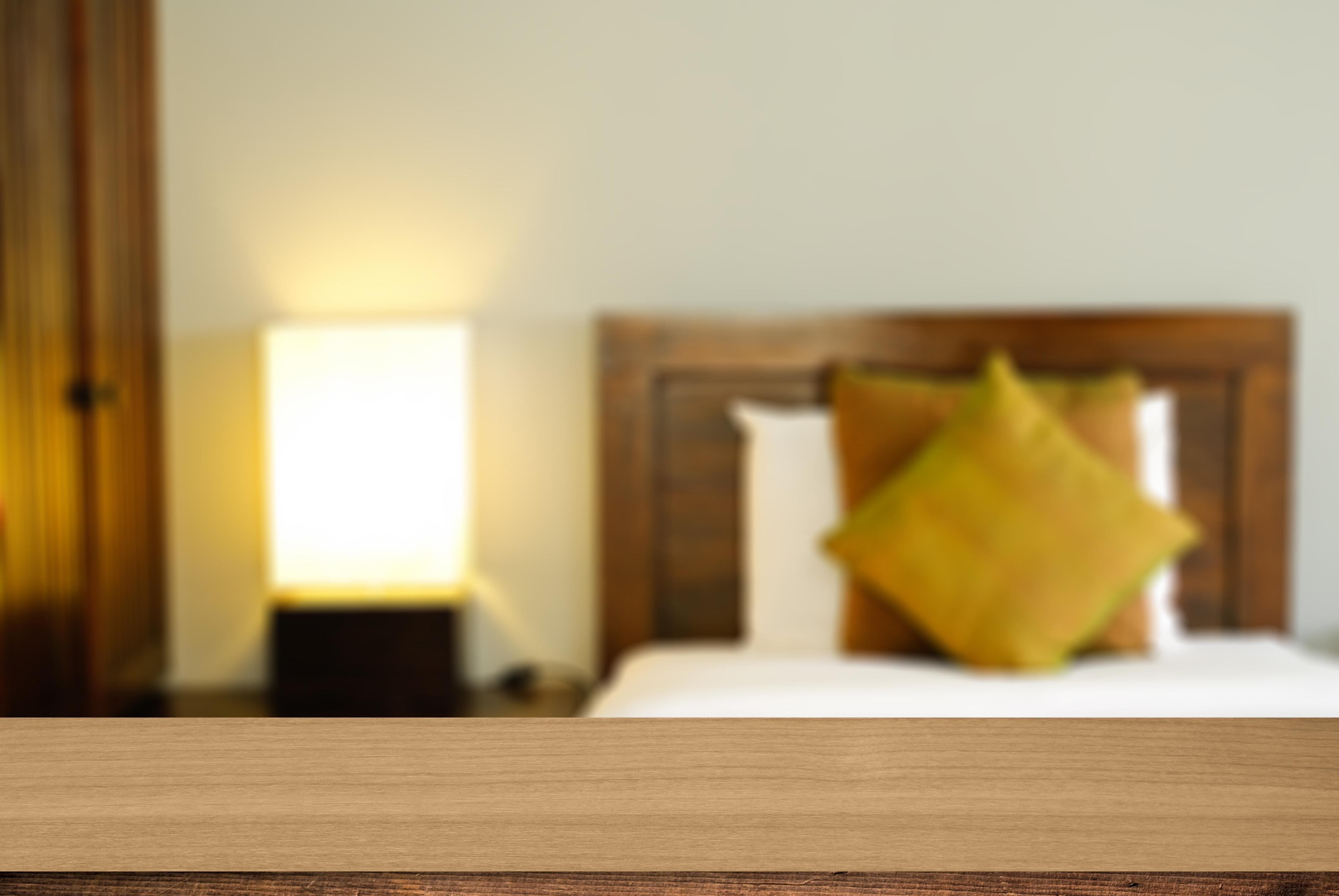 Wood desk deroration background bed room